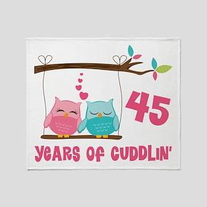 45th Anniversary Owl Couple Throw Blanket