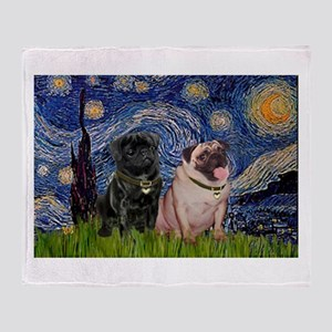 Starry Night Pug Pair Throw Blanket