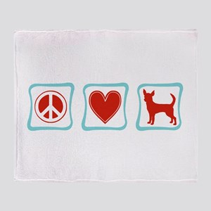 Peace, Love and Chihuahua Throw Blanket