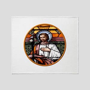 ST. JOSEPH STAINED GLASS WINDOW Throw Blanket