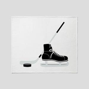 Hockey Stick Skate Puck Throw Blanket
