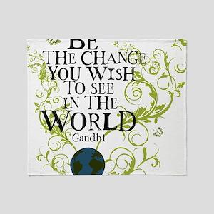 bethechange_earth_white Throw Blanket