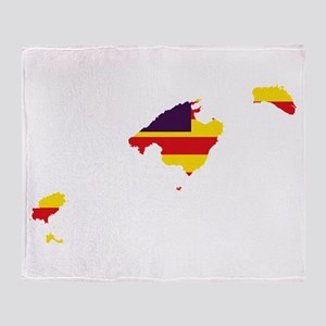 Balearic Islands Flag and Map Throw Blanket