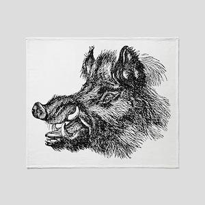 Vintage 1800s Wild Boar Illustration Throw Blanket