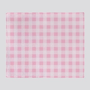 Pink Gingham Checkered Pattern Throw Blanket