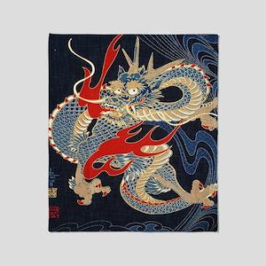 dragon japanese textile Throw Blanket