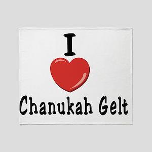 I Love Chanukah Gelt Black Throw Blanket