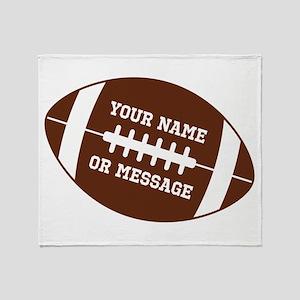 YOUR NAME Football Throw Blanket