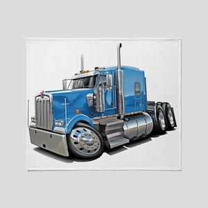 Kenworth w900 Lt Blue Truck Throw Blanket