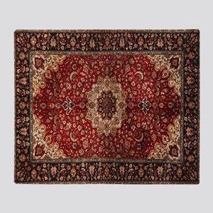 Persian Rug Red and Gold Throw Blanket