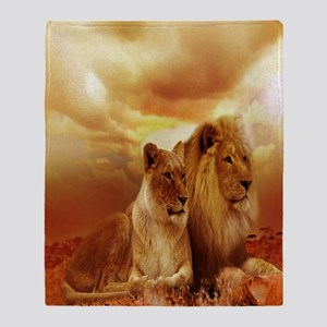 Africa Lion and Lioness Throw Blanket