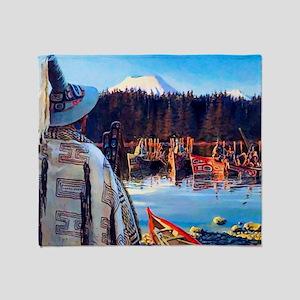 Tlingit Canoes Throw Blanket