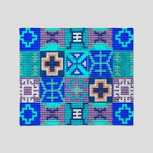 Blue Navajo Symbols Throw Blanket