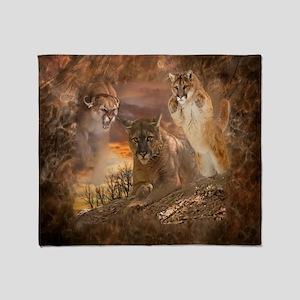 Mountain Lion Collage Throw Blanket