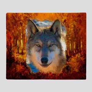 Gray Wolf Face Throw Blanket