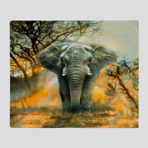 Elephant Sunrise Throw Blanket