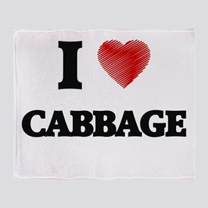 I Love Cabbage Throw Blanket