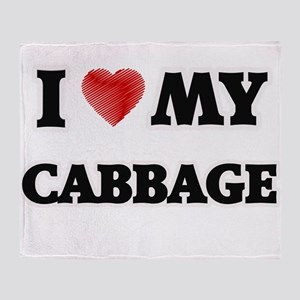 I Love My Cabbage food design Throw Blanket