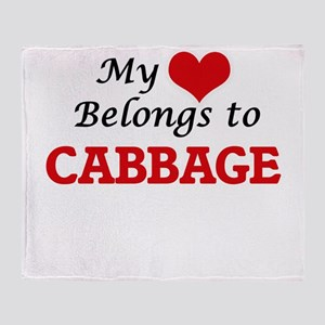 My Heart Belongs to Cabbage Throw Blanket