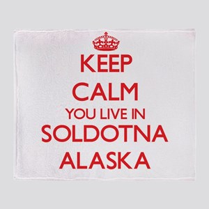 Keep calm you live in Soldotna Alask Throw Blanket