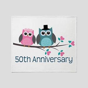 50th Anniversary Owl Couple Throw Blanket