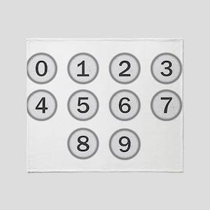 Typewriter Keys Numbers Throw Blanket