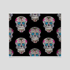 sequin Sugar Skulls Throw Blanket