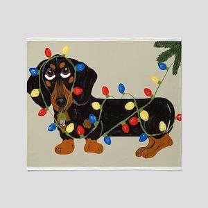 Dachshund (Blk/Tan) Tangled In Christmas Lights S