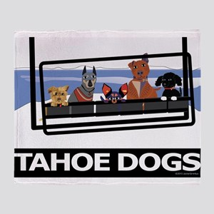 Dogs on Ski Lift Throw Blanket