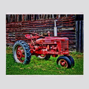 Red Tractor HDR Style Throw Blanket