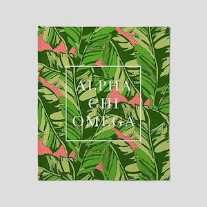 Alpha Chi Omega Banana Leaves FB Throw Blanket