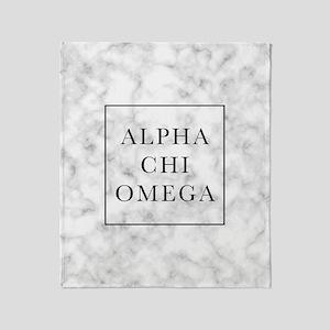 Alpha Chi Omega Marble FB Throw Blanket