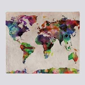 World Map Urban Watercolor 14x10 Throw Blanket