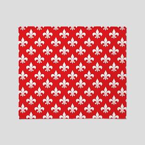 Fleur-de-lis on red Throw Blanket