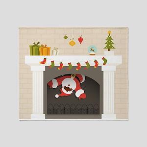 black santa stuck in fireplace Throw Blanket