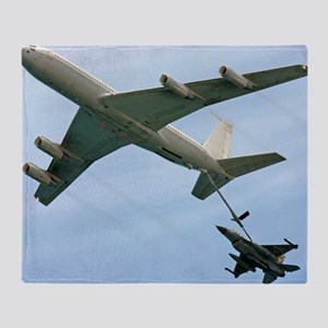 F16 jet being refueled by a Boeing 7 Throw Blanket