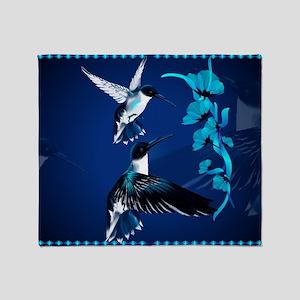 Two Blue Hummingbirds-Yardsign Throw Blanket