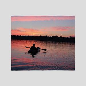 Kayaking at Sunset Throw Blanket