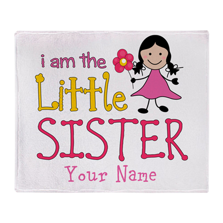 little sister stick figure girl throw blanket by bimbyscollections