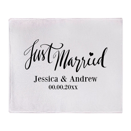 Just Married Personalized Wedding Throw Blanket By Hqart Best Personalized Wedding Throw Blanket