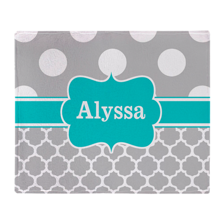 Gray Teal Chevron Dots Personalized Throw Blanket