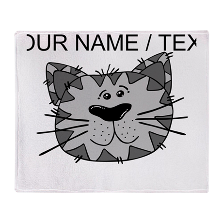 Custom Grey Cat Face Throw Blanket