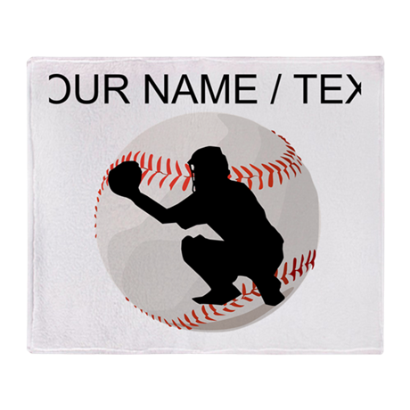 Custom Baseball Catcher Silhouette Throw Blanket