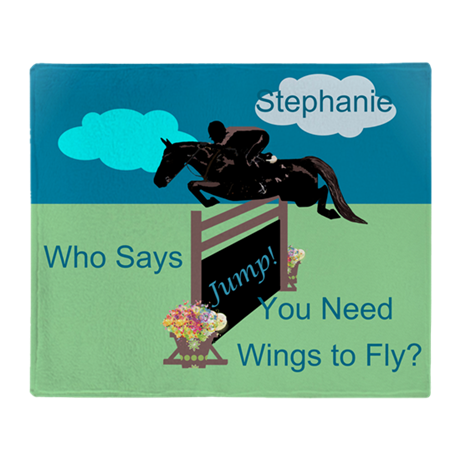 Fun Grand Prix Horse Jumper Throw Blanket