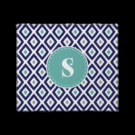 Navy Blue Ikat Diamond Pattern Monogram Throw Blan