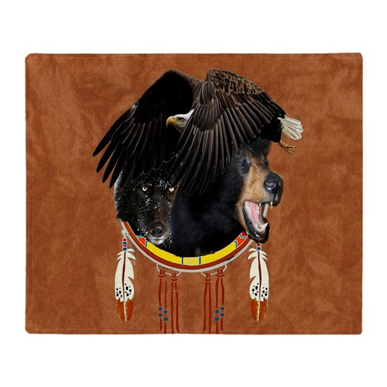 Eagle Bear Wolf Throw Blanket By Ravensijohn Cafepress