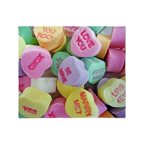 Candy Hearts Throw Blanket By Frankiecat Cafepress