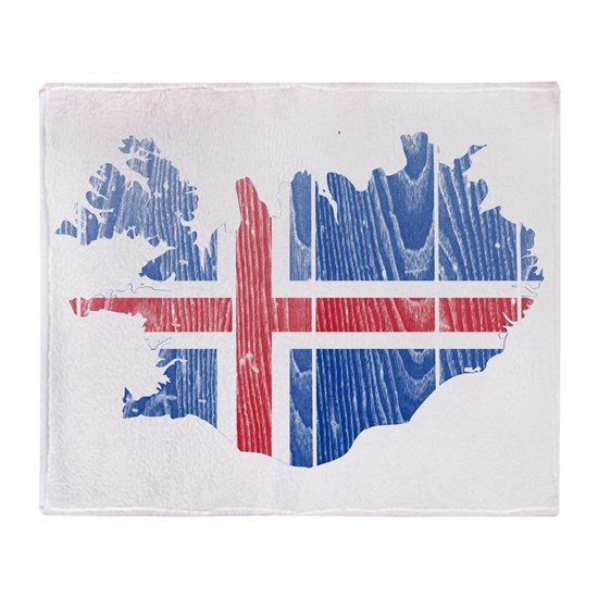 Iceland Flag and Map Wood