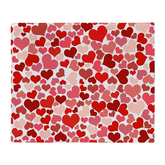 Abstract Red and Pink Hearts Pattern