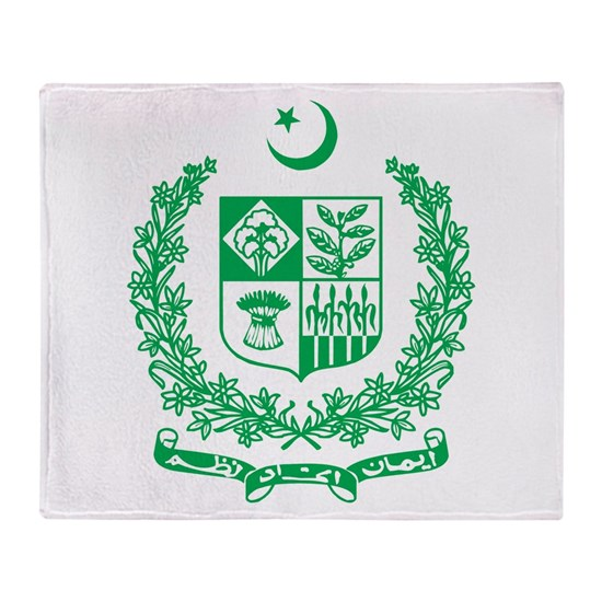 Pakistan Coat Of Arms Throw Blanket By Teyes
